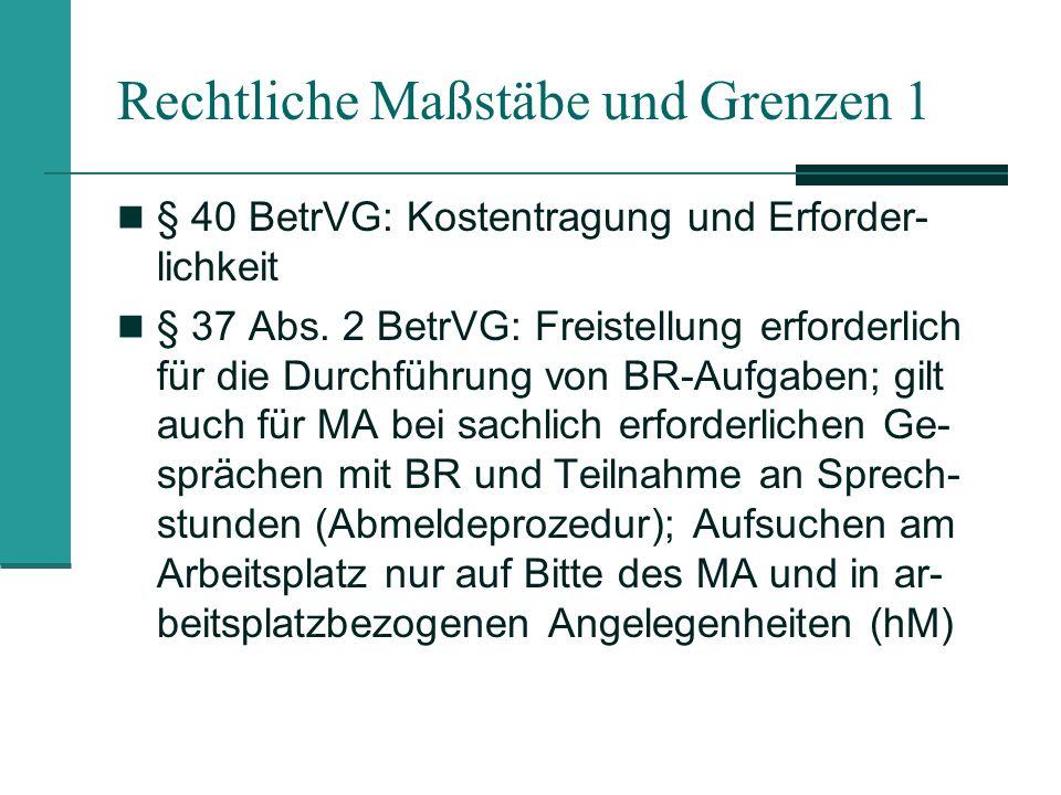 Rechtliche Maßstäbe und Grenzen 1 § 40 BetrVG: Kostentragung und Erforder- lichkeit § 37 Abs.
