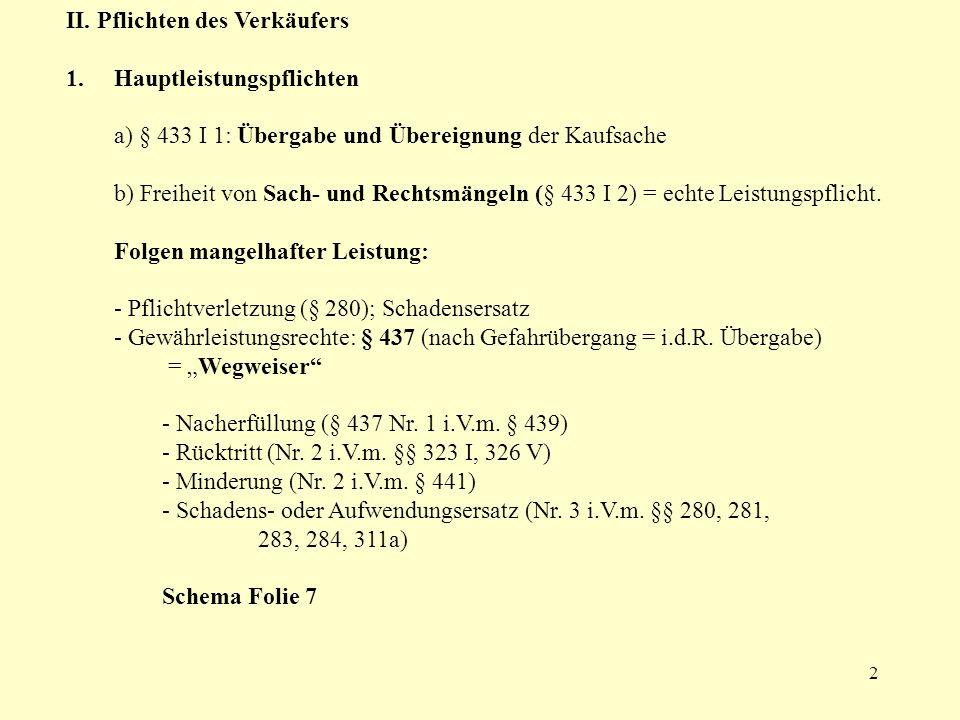 3 c) Vor Übergabe der Sache: allgemeines Schuldrecht; also bei unbehebbaren Mängeln §§ 275, 280, 283, 326 I usw.