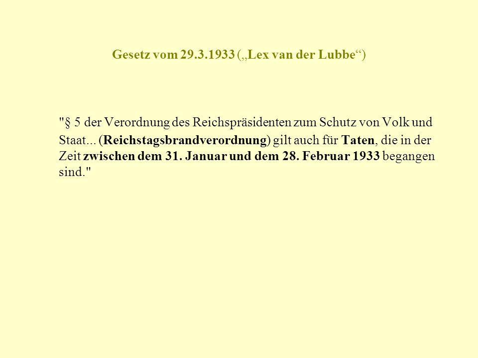 Gesetz vom 29.3.1933 (Lex van der Lubbe)