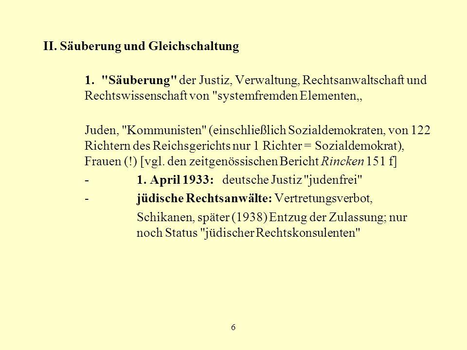 6 II. Säuberung und Gleichschaltung 1.