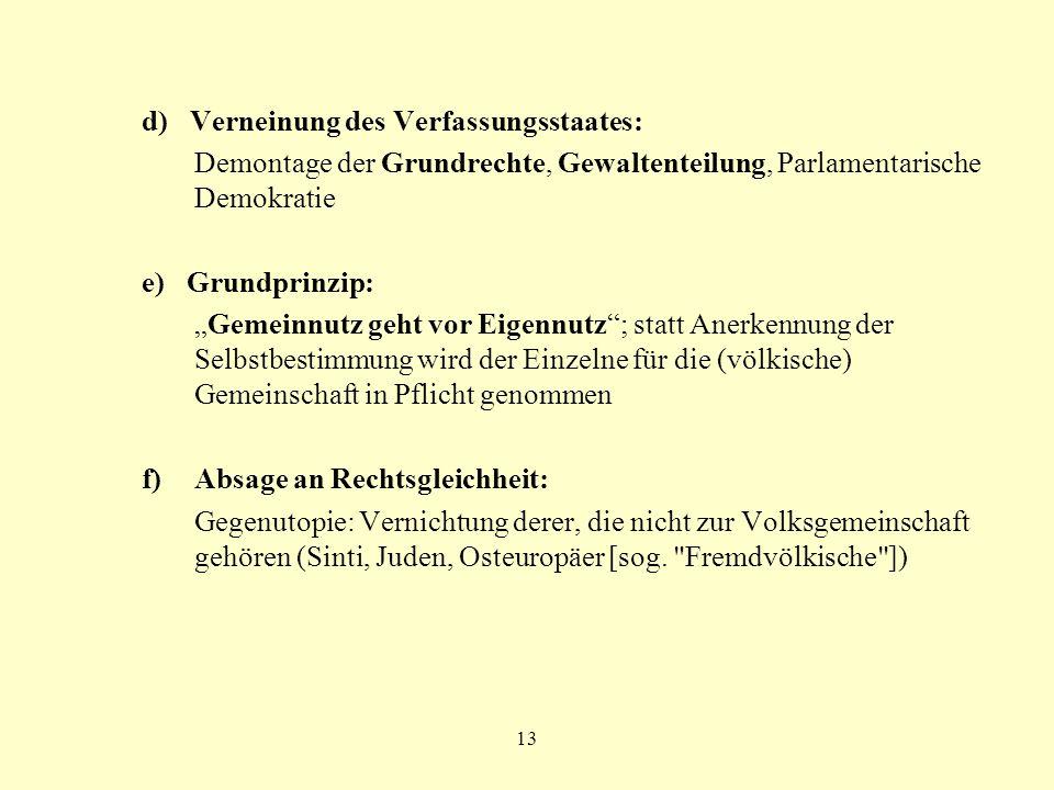 13 d) Verneinung des Verfassungsstaates: Demontage der Grundrechte, Gewaltenteilung, Parlamentarische Demokratie e) Grundprinzip: Gemeinnutz geht vor