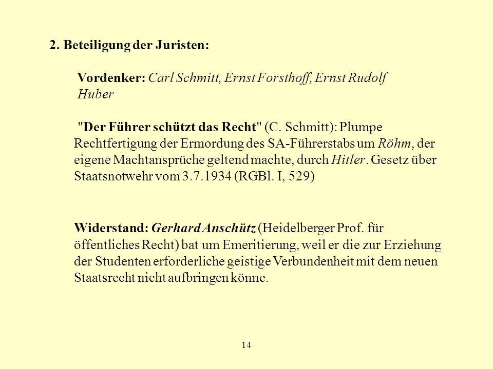14 2. Beteiligung der Juristen: Vordenker: Carl Schmitt, Ernst Forsthoff, Ernst Rudolf Huber