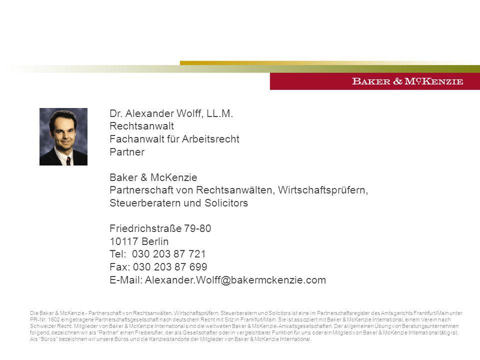 Die Baker & McKenzie - Partnerschaft von Rechtsanwälten, Wirtschaftsprüfern, Steuerberatern und Solicitors ist eine im Partnerschaftsregister des Amtsgerichts Frankfurt/Main unter PR-Nr.