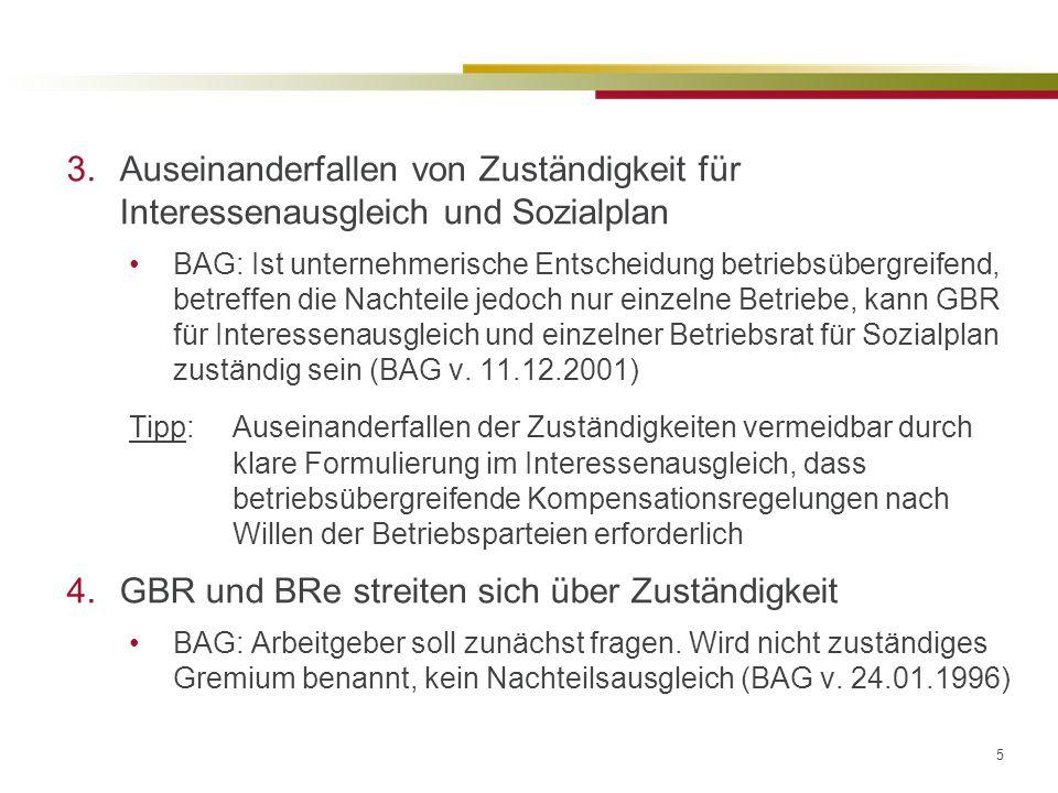 5 3.Auseinanderfallen von Zuständigkeit für Interessenausgleich und Sozialplan BAG: Ist unternehmerische Entscheidung betriebsübergreifend, betreffen die Nachteile jedoch nur einzelne Betriebe, kann GBR für Interessenausgleich und einzelner Betriebsrat für Sozialplan zuständig sein (BAG v.