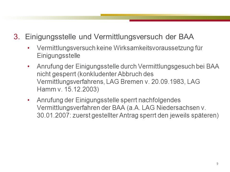 9 3.Einigungsstelle und Vermittlungsversuch der BAA Vermittlungsversuch keine Wirksamkeitsvoraussetzung für Einigungsstelle Anrufung der Einigungsstelle durch Vermittlungsgesuch bei BAA nicht gesperrt (konkludenter Abbruch des Vermittlungsverfahrens, LAG Bremen v.