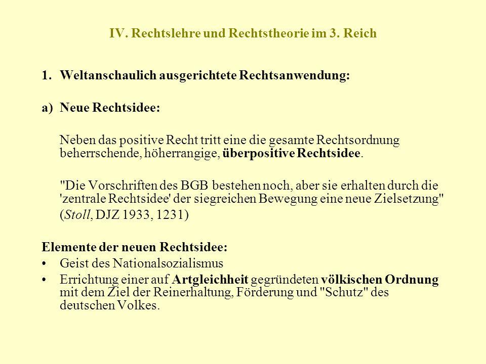 IV. Rechtslehre und Rechtstheorie im 3. Reich 1.Weltanschaulich ausgerichtete Rechtsanwendung: a) Neue Rechtsidee: Neben das positive Recht tritt eine
