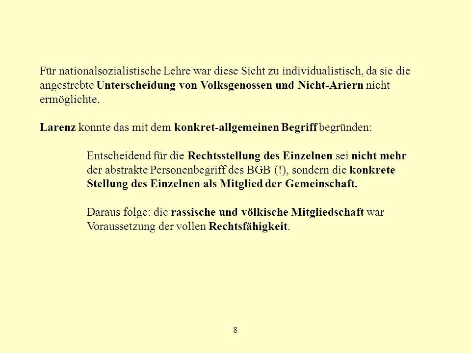 9 Zitate Larenz: Rechtsgenosse ist nur, wer Volksgenosse ist; Volksgenosse ist, wer deutschen Blutes ist...