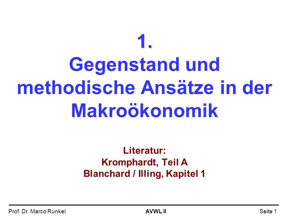 AVWL IIProf. Dr. Marco RunkelSeite 1 1. 1. Gegenstand und methodische Ansätze in der Makroökonomik Literatur: Kromphardt, Teil A Blanchard / Illing, K