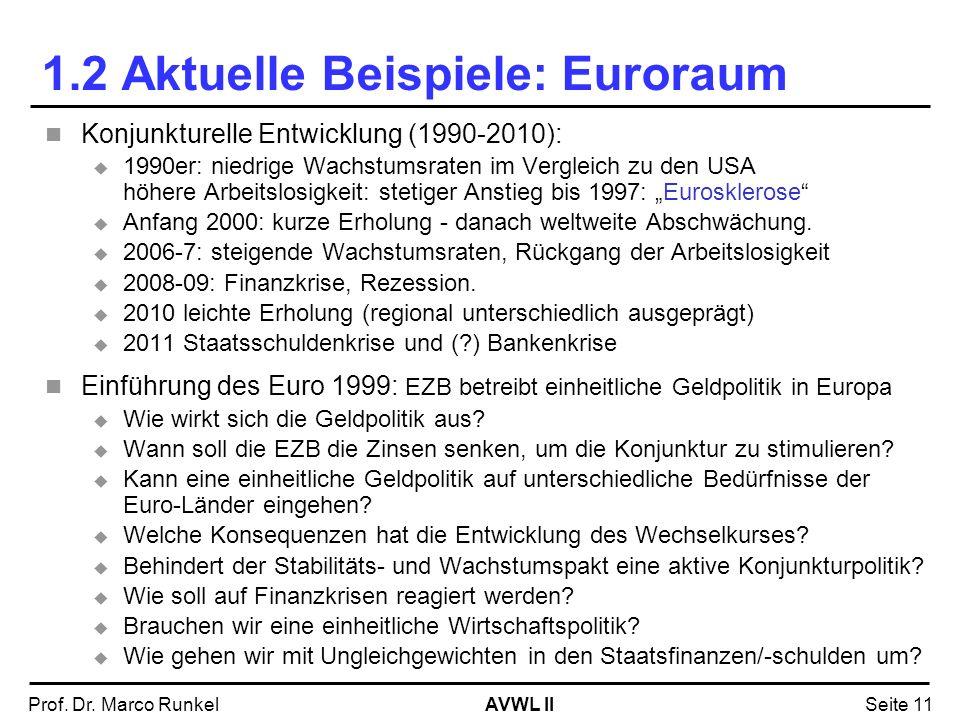 AVWL IIProf. Dr. Marco RunkelSeite 11 Konjunkturelle Entwicklung (1990-2010): 1990er: niedrige Wachstumsraten im Vergleich zu den USA höhere Arbeitslo