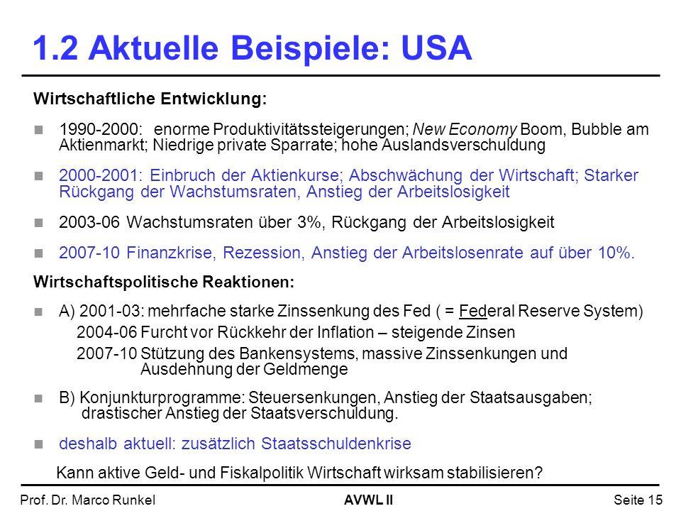 AVWL IIProf. Dr. Marco RunkelSeite 15 Wirtschaftliche Entwicklung: 1990-2000: enorme Produktivitätssteigerungen; New Economy Boom, Bubble am Aktienmar