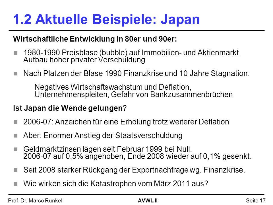 AVWL IIProf. Dr. Marco RunkelSeite 17 Wirtschaftliche Entwicklung in 80er und 90er: 1980-1990 Preisblase (bubble) auf Immobilien- und Aktienmarkt. Auf