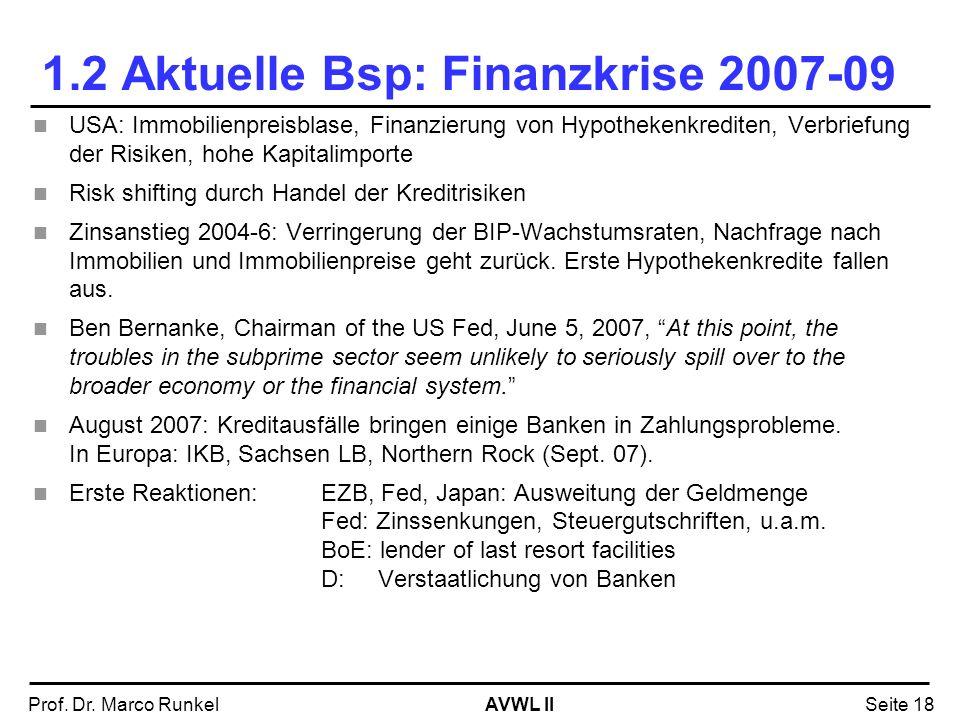 AVWL IIProf. Dr. Marco RunkelSeite 18 1.2 Aktuelle Bsp: Finanzkrise 2007-09 USA: Immobilienpreisblase, Finanzierung von Hypothekenkrediten, Verbriefun