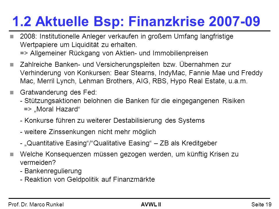 AVWL IIProf. Dr. Marco RunkelSeite 19 1.2 Aktuelle Bsp: Finanzkrise 2007-09 2008: Institutionelle Anleger verkaufen in großem Umfang langfristige Wert