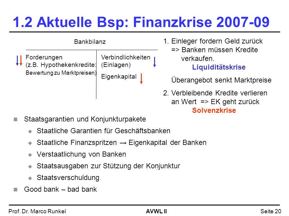 AVWL IIProf. Dr. Marco RunkelSeite 20 1.2 Aktuelle Bsp: Finanzkrise 2007-09 Staatsgarantien und Konjunkturpakete Staatliche Garantien für Geschäftsban