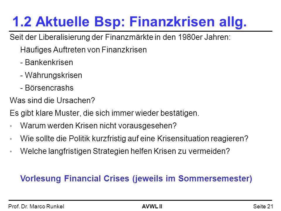 AVWL IIProf. Dr. Marco RunkelSeite 21 1.2 Aktuelle Bsp: Finanzkrisen allg. Seit der Liberalisierung der Finanzmärkte in den 1980er Jahren: Häufiges Au