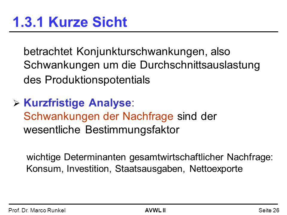 AVWL IIProf. Dr. Marco RunkelSeite 26 1.3.1 Kurze Sicht betrachtet Konjunkturschwankungen, also Schwankungen um die Durchschnittsauslastung des Produk