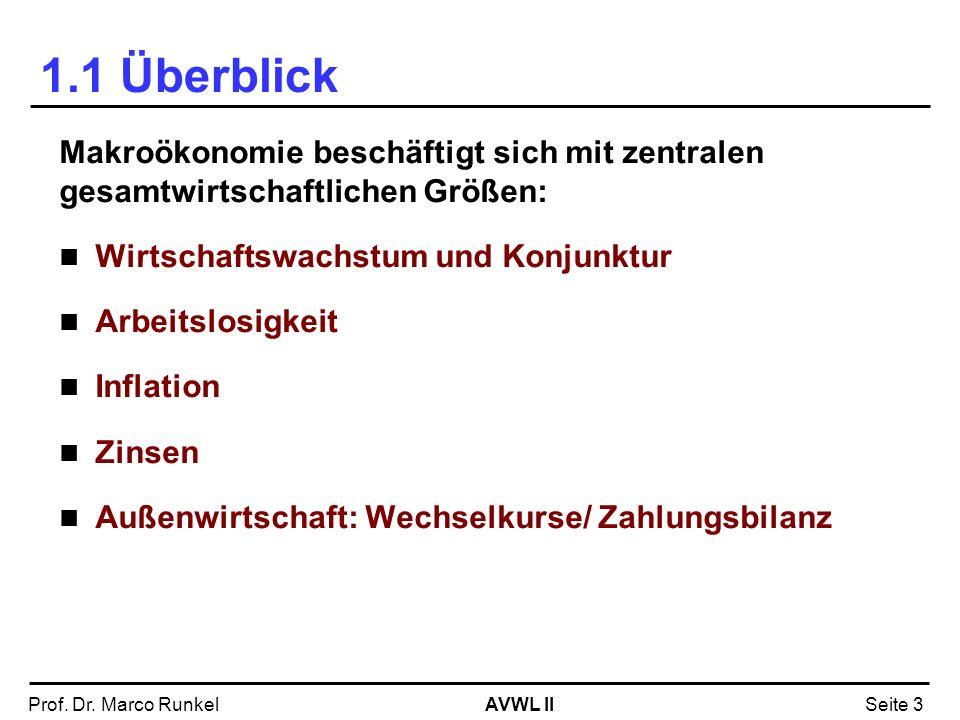 AVWL IIProf. Dr. Marco RunkelSeite 3 1.1 Überblick Makroökonomie beschäftigt sich mit zentralen gesamtwirtschaftlichen Größen: Wirtschaftswachstum und