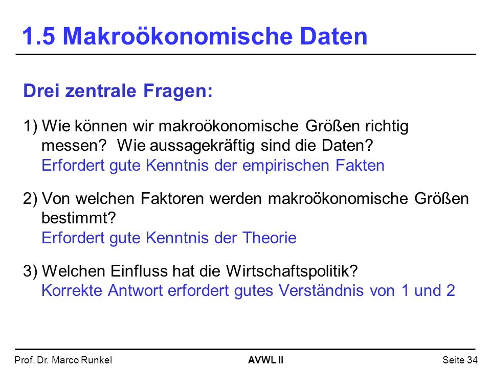 AVWL IIProf. Dr. Marco RunkelSeite 34 Drei zentrale Fragen: 1) Wie können wir makroökonomische Größen richtig messen? Wie aussagekräftig sind die Date