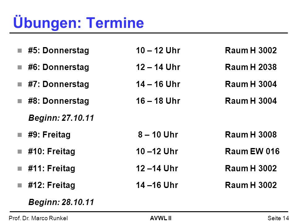 AVWL IIProf. Dr. Marco RunkelSeite 14 Übungen: Termine #5: Donnerstag 10 – 12 UhrRaum H 3002 #6: Donnerstag12 – 14 UhrRaum H 2038 #7: Donnerstag14 – 1