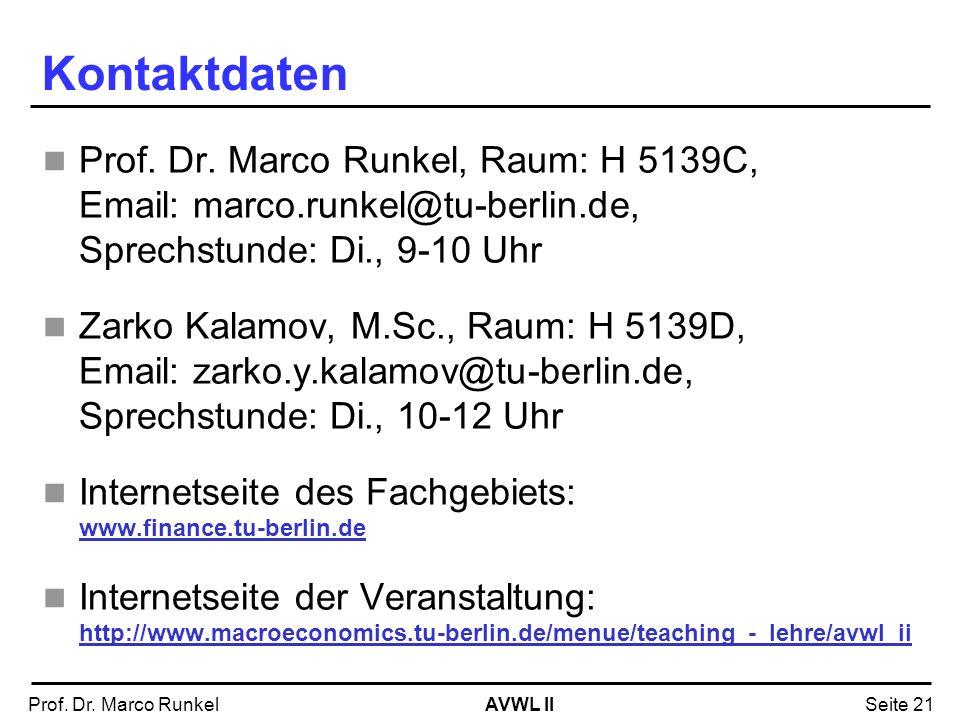 AVWL IIProf. Dr. Marco RunkelSeite 21 Kontaktdaten Prof. Dr. Marco Runkel, Raum: H 5139C, Email: marco.runkel@tu-berlin.de, Sprechstunde: Di., 9-10 Uh