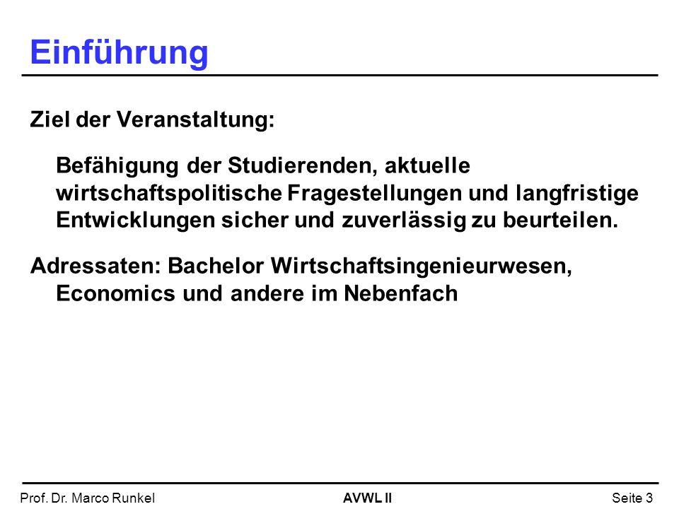 AVWL IIProf. Dr. Marco RunkelSeite 3 Einführung Ziel der Veranstaltung: Befähigung der Studierenden, aktuelle wirtschaftspolitische Fragestellungen un