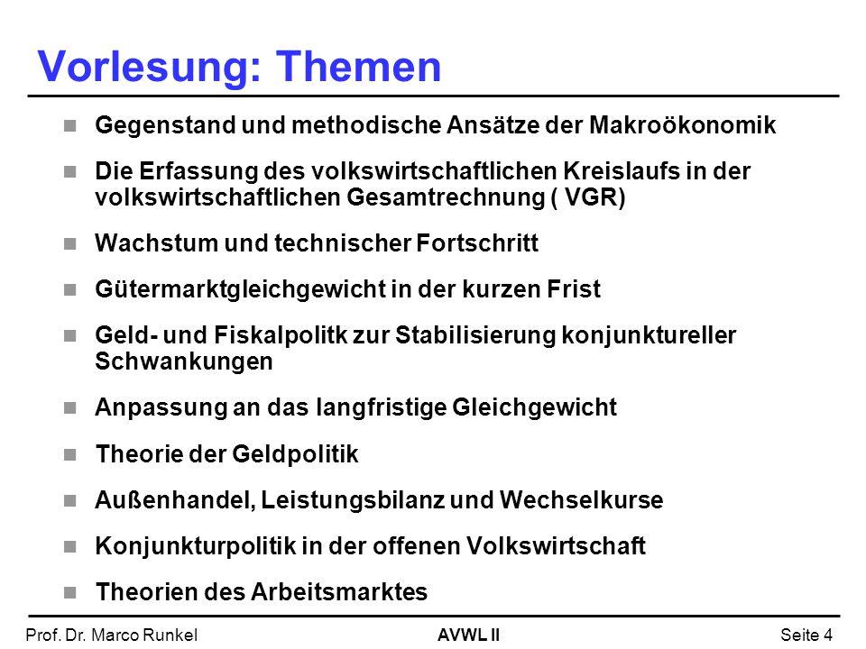 AVWL IIProf. Dr. Marco RunkelSeite 4 Vorlesung: Themen Gegenstand und methodische Ansätze der Makroökonomik Die Erfassung des volkswirtschaftlichen Kr