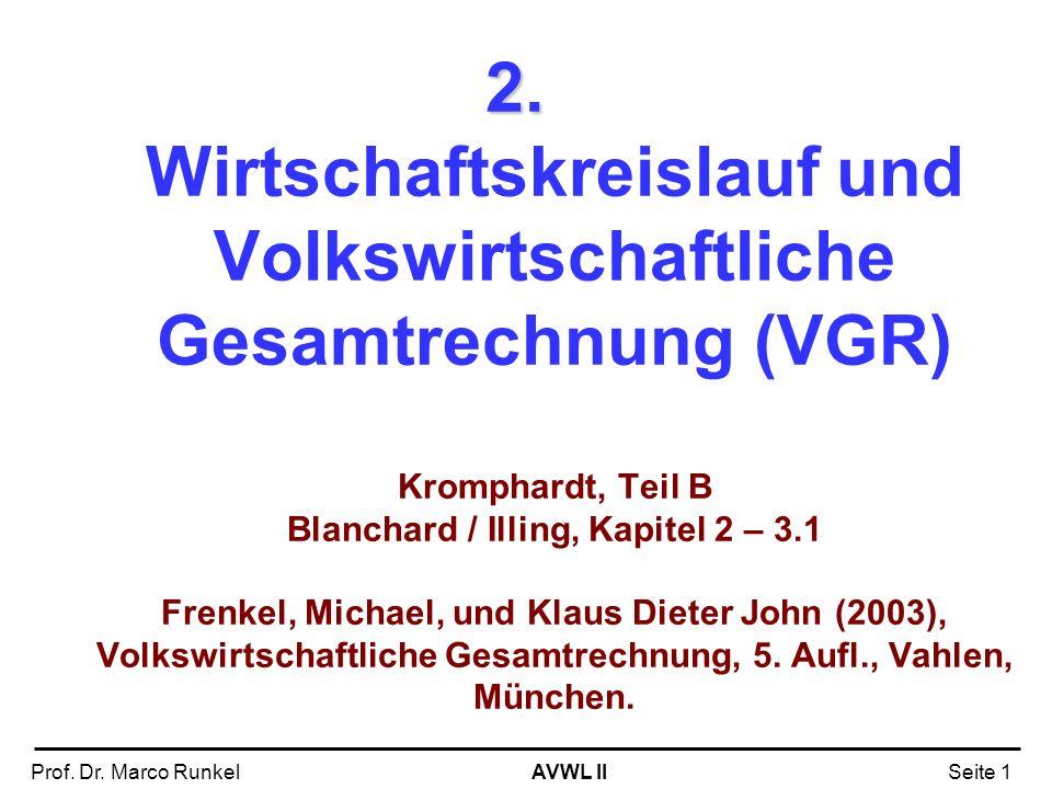 AVWL IIProf. Dr. Marco RunkelSeite 1 2. 2. Wirtschaftskreislauf und Volkswirtschaftliche Gesamtrechnung (VGR) Kromphardt, Teil B Blanchard / Illing, K