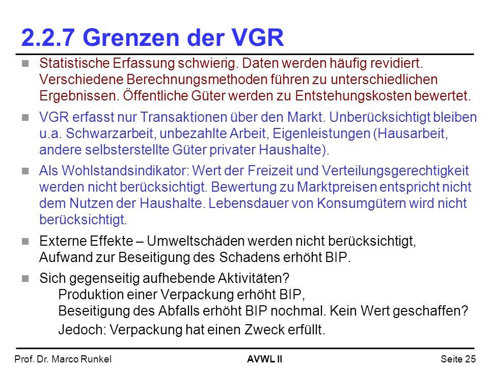 AVWL IIProf. Dr. Marco RunkelSeite 25 2.2.7 Grenzen der VGR Statistische Erfassung schwierig. Daten werden häufig revidiert. Verschiedene Berechnungsm