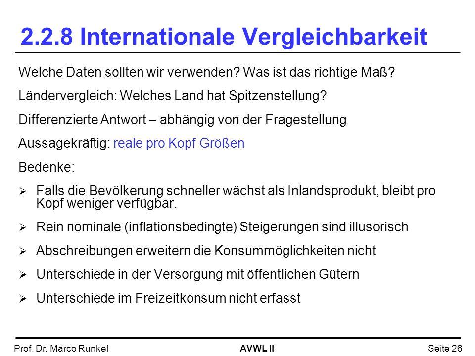AVWL IIProf. Dr. Marco RunkelSeite 26 2.2.8 Internationale Vergleichbarkeit Welche Daten sollten wir verwenden? Was ist das richtige Maß? Ländervergle