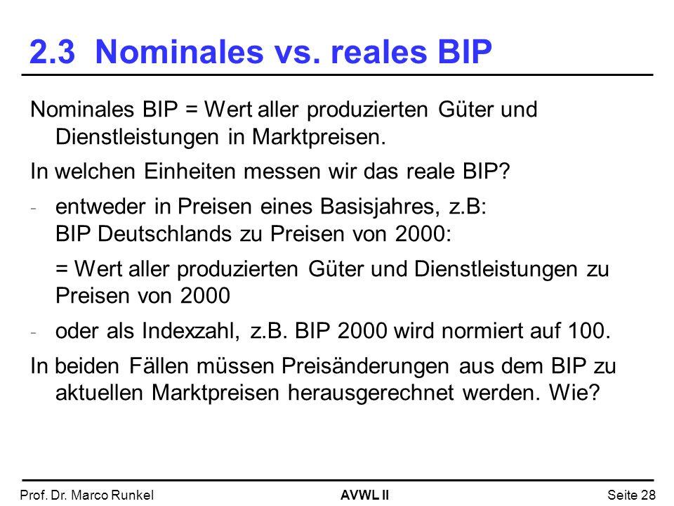 AVWL IIProf. Dr. Marco RunkelSeite 28 2.3 Nominales vs. reales BIP Nominales BIP = Wert aller produzierten Güter und Dienstleistungen in Marktpreisen.
