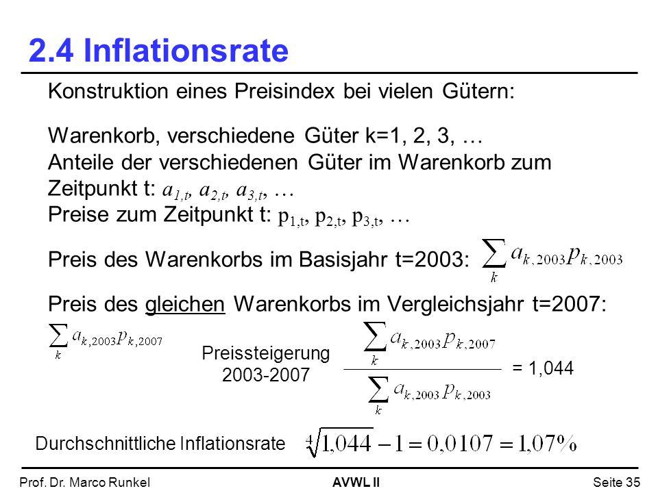 AVWL IIProf. Dr. Marco RunkelSeite 35 2.4 Inflationsrate Konstruktion eines Preisindex bei vielen Gütern: Warenkorb, verschiedene Güter k=1, 2, 3, … A