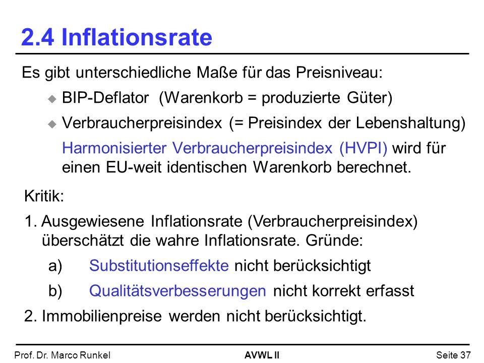 AVWL IIProf. Dr. Marco RunkelSeite 37 2.4 Inflationsrate Es gibt unterschiedliche Maße für das Preisniveau: BIP-Deflator (Warenkorb = produzierte Güte