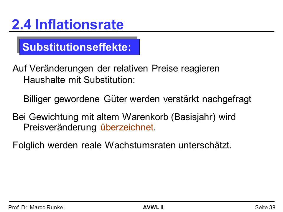 AVWL IIProf. Dr. Marco RunkelSeite 38 2.4 Inflationsrate Auf Veränderungen der relativen Preise reagieren Haushalte mit Substitution: Billiger geworde
