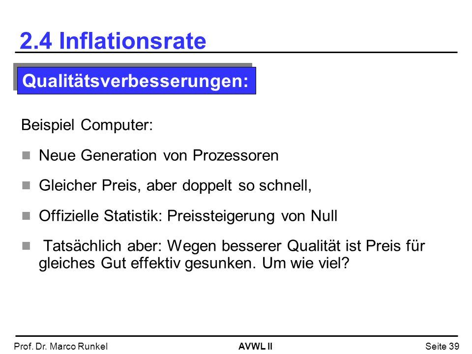 AVWL IIProf. Dr. Marco RunkelSeite 39 2.4 Inflationsrate Beispiel Computer: Neue Generation von Prozessoren Gleicher Preis, aber doppelt so schnell, O