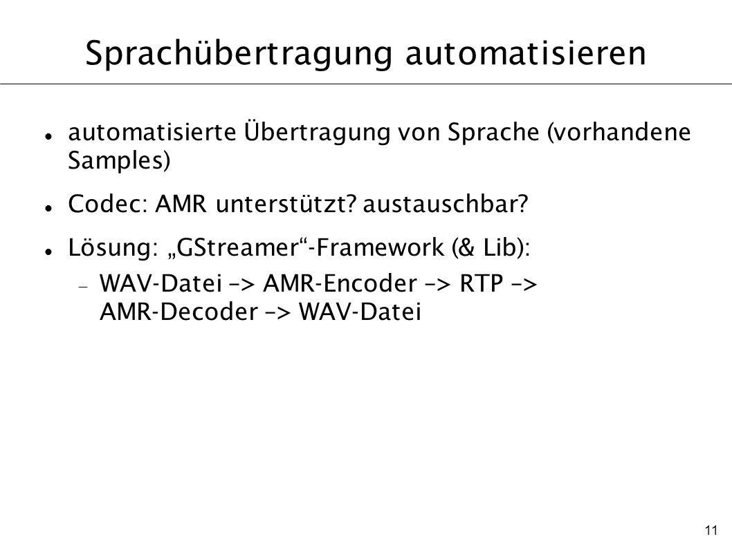 11 Sprachübertragung automatisieren automatisierte Übertragung von Sprache (vorhandene Samples) Codec: AMR unterstützt? austauschbar? Lösung: GStreame