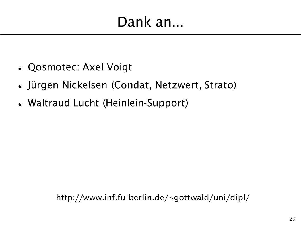 20 http://www.inf.fu-berlin.de/~gottwald/uni/dipl/ Dank an... Qosmotec: Axel Voigt Jürgen Nickelsen (Condat, Netzwert, Strato) Waltraud Lucht (Heinlei