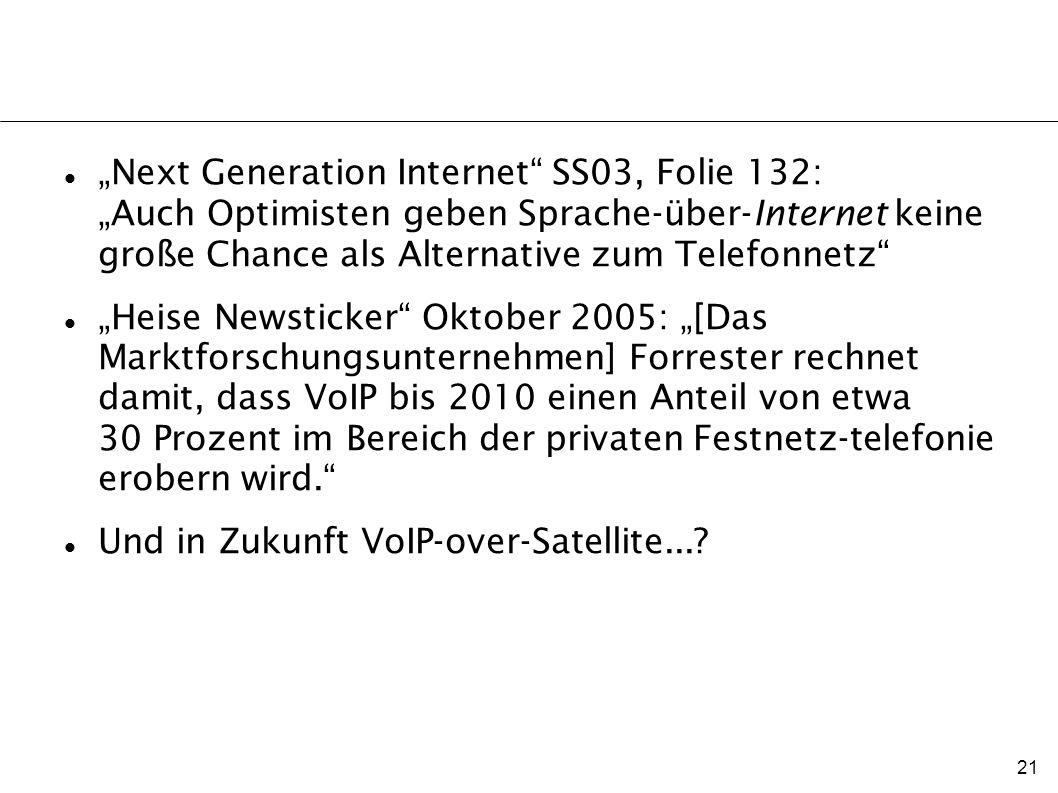 21 Next Generation Internet SS03, Folie 132: Auch Optimisten geben Sprache-über-Internet keine große Chance als Alternative zum Telefonnetz Heise News