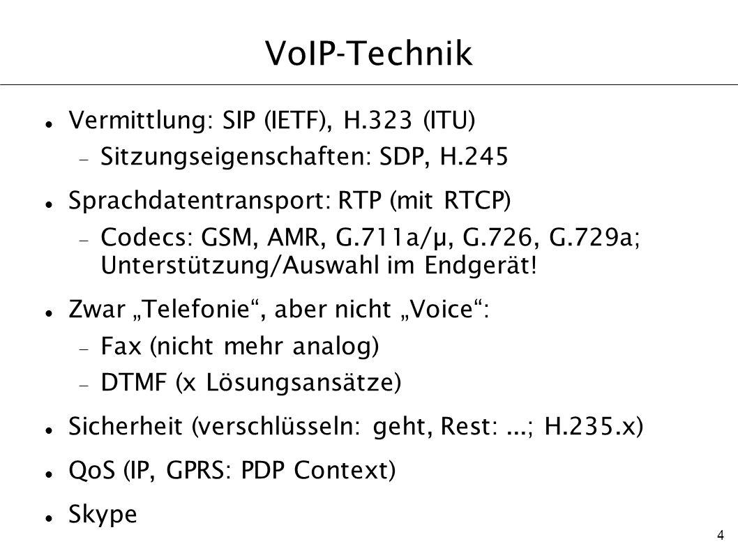 4 VoIP-Technik Vermittlung: SIP (IETF), H.323 (ITU) Sitzungseigenschaften: SDP, H.245 Sprachdatentransport: RTP (mit RTCP) Codecs: GSM, AMR, G.711a/µ,