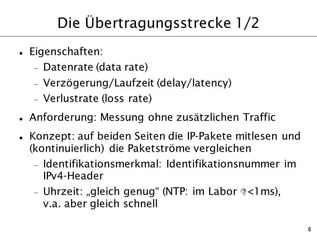 6 Die Übertragungsstrecke 1/2 Eigenschaften: Datenrate (data rate) Verzögerung/Laufzeit (delay/latency) Verlustrate (loss rate) Anforderung: Messung o