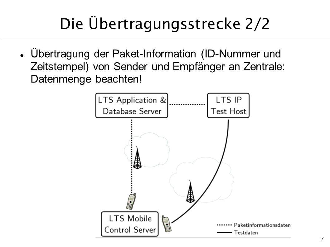 7 Die Übertragungsstrecke 2/2 Übertragung der Paket-Information (ID-Nummer und Zeitstempel) von Sender und Empfänger an Zentrale: Datenmenge beachten!