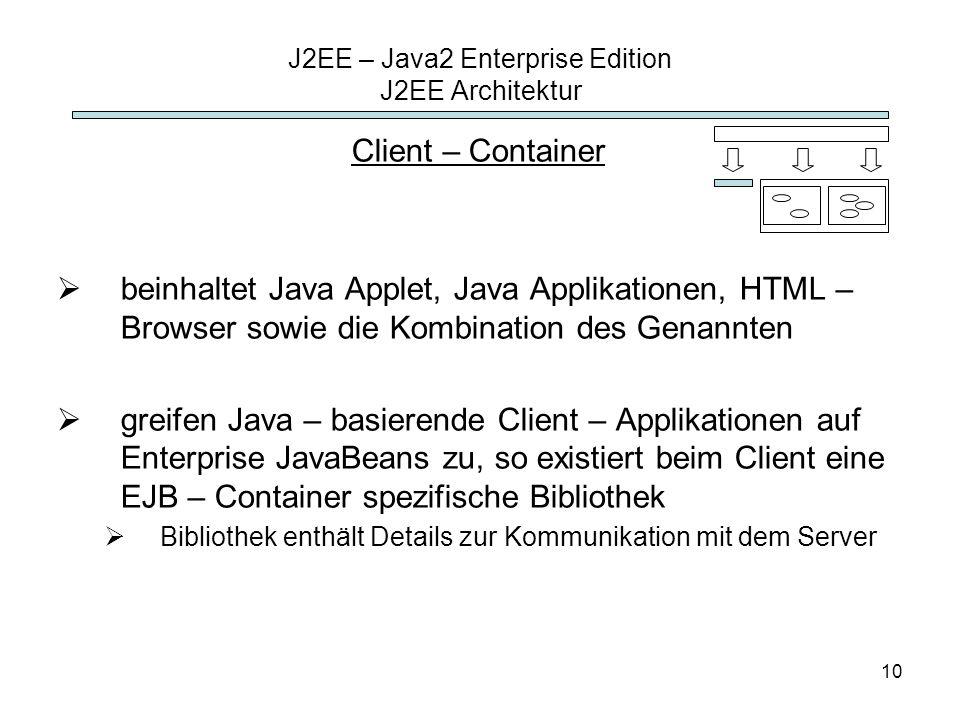 10 J2EE – Java2 Enterprise Edition J2EE Architektur Client – Container beinhaltet Java Applet, Java Applikationen, HTML – Browser sowie die Kombinatio