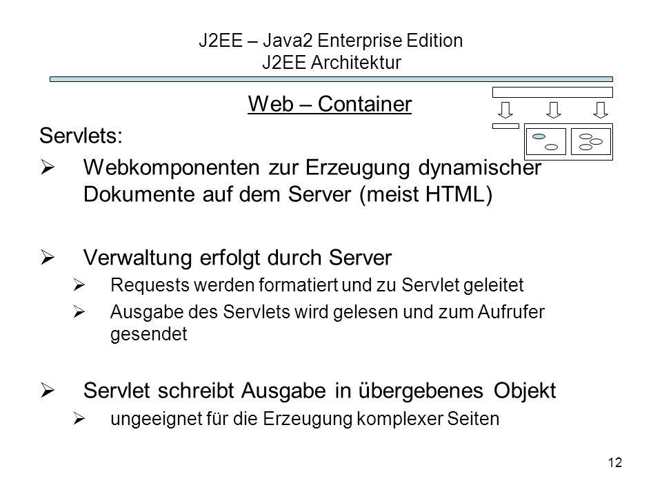 12 J2EE – Java2 Enterprise Edition J2EE Architektur Web – Container Servlets: Webkomponenten zur Erzeugung dynamischer Dokumente auf dem Server (meist