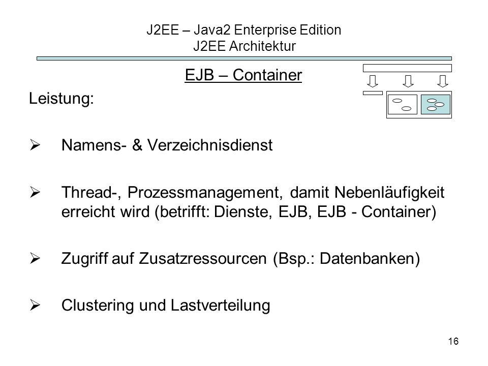 16 J2EE – Java2 Enterprise Edition J2EE Architektur EJB – Container Leistung: Namens- & Verzeichnisdienst Thread-, Prozessmanagement, damit Nebenläufi