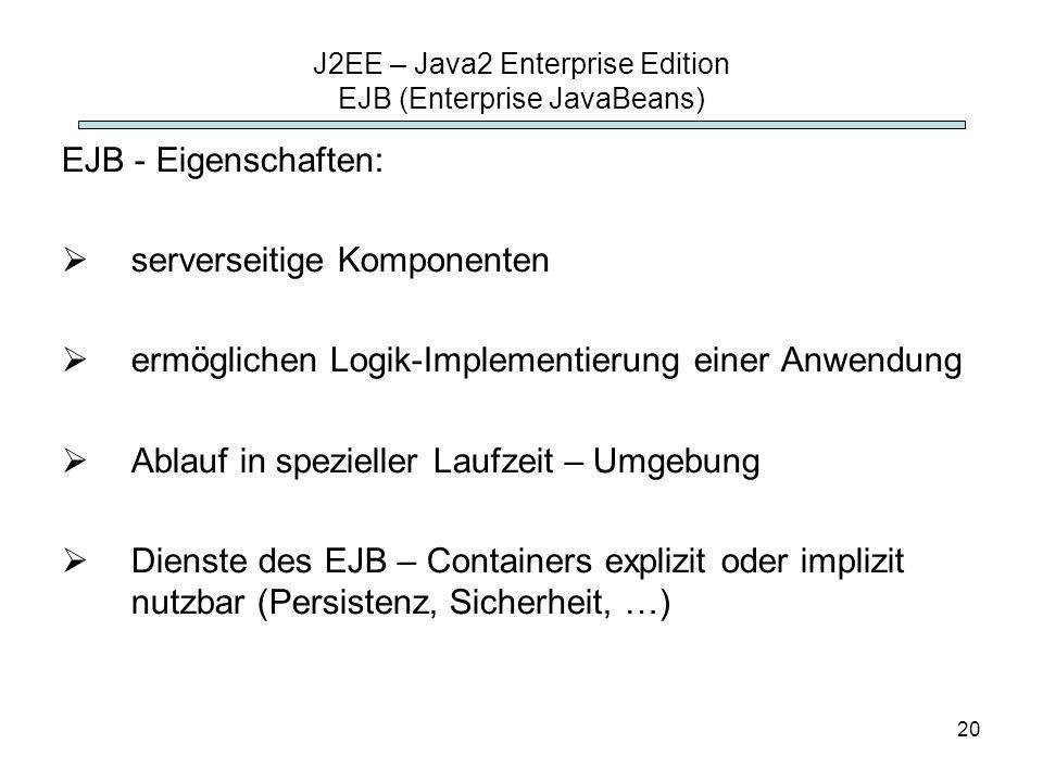 20 J2EE – Java2 Enterprise Edition EJB (Enterprise JavaBeans) EJB - Eigenschaften: serverseitige Komponenten ermöglichen Logik-Implementierung einer A