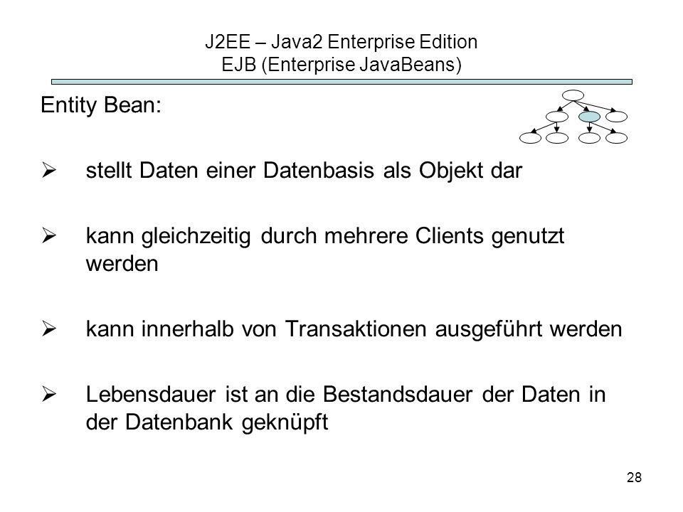 28 J2EE – Java2 Enterprise Edition EJB (Enterprise JavaBeans) Entity Bean: stellt Daten einer Datenbasis als Objekt dar kann gleichzeitig durch mehrer