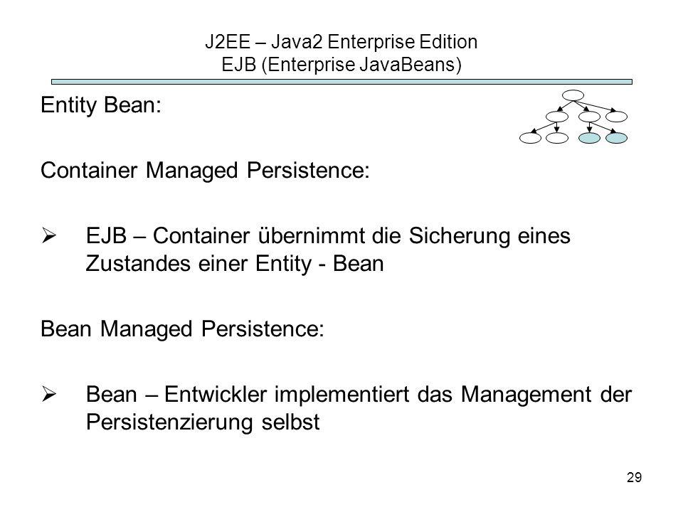 29 J2EE – Java2 Enterprise Edition EJB (Enterprise JavaBeans) Entity Bean: Container Managed Persistence: EJB – Container übernimmt die Sicherung eine