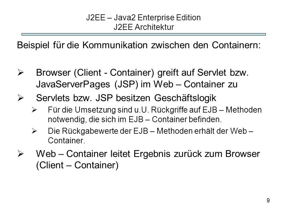 9 J2EE – Java2 Enterprise Edition J2EE Architektur Beispiel für die Kommunikation zwischen den Containern: Browser (Client - Container) greift auf Ser