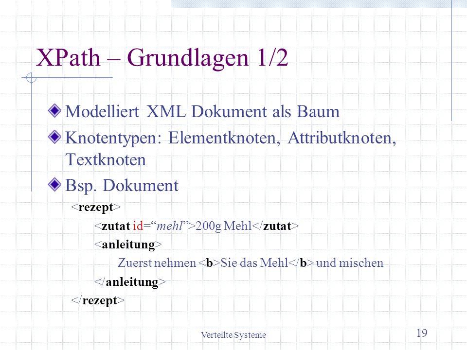 Verteilte Systeme 19 XPath – Grundlagen 1/2 Modelliert XML Dokument als Baum Knotentypen: Elementknoten, Attributknoten, Textknoten Bsp. Dokument 200g
