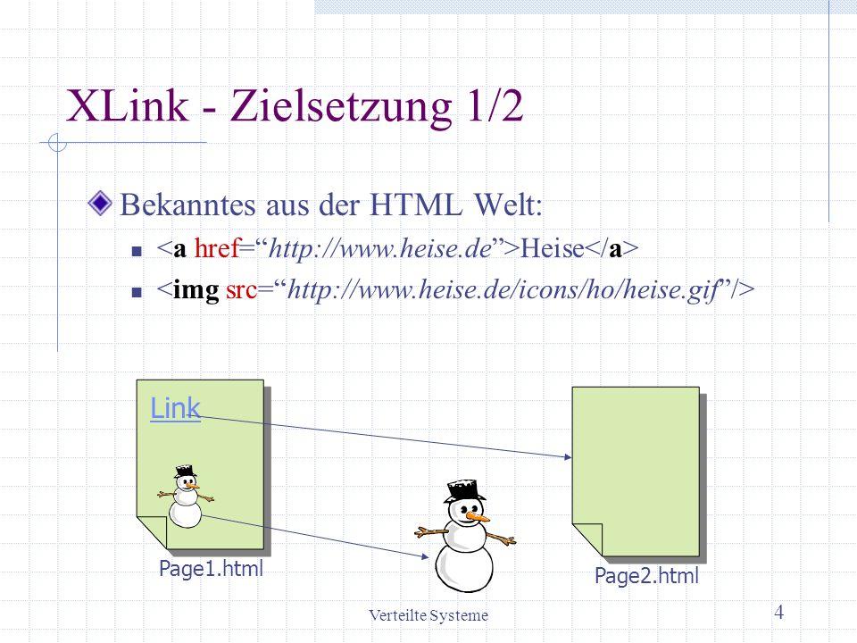 Verteilte Systeme 4 XLink - Zielsetzung 1/2 Bekanntes aus der HTML Welt: Heise Link Page1.html Page2.html