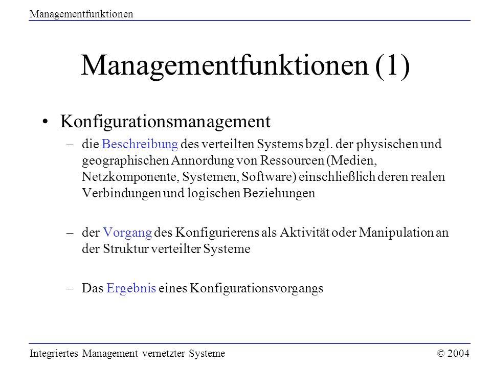Managementfunktionen (1) Konfigurationsmanagement –die Beschreibung des verteilten Systems bzgl. der physischen und geographischen Annordung von Resso